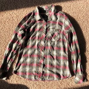 Horny Toad Plaid Button Down Long Sleeve Shirt